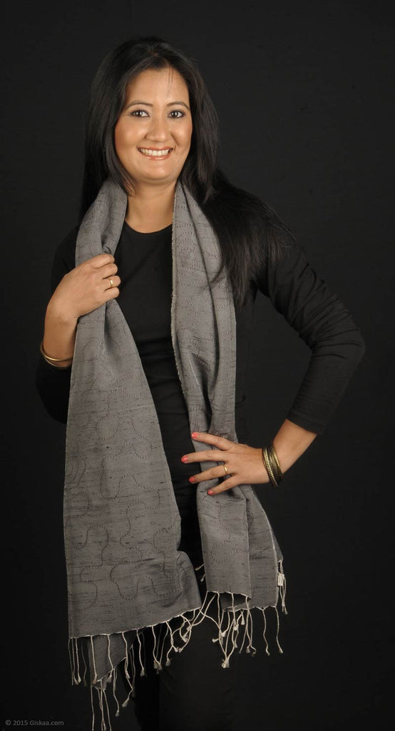 Handmade dupion silk stole, grey colur with watery pattern