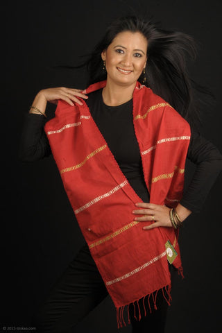 Handmade cotton mixed with Eri Silk stole, red base with white and yellow stripes