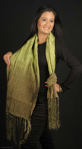 Handmade dupion silk stole, forest freen fading into moss green