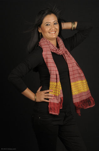 Handmade 100% Eri Silk stole, red base with woven dark red stripes and yellow border