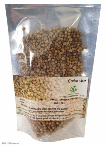 Coriander or Dhania Whole - Pack of 4 packets of 50 g each