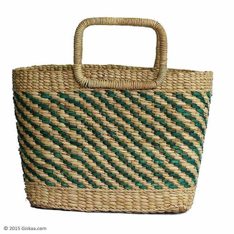 Natural Reed & Green Colored Striped Basket