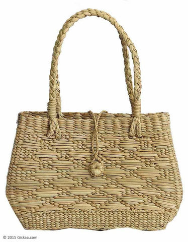 A-Shaped Natural Reed Colored Handbag