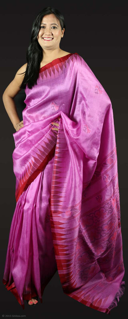 Rani Saree Phi (Onion Pink) Maroon Temple Border