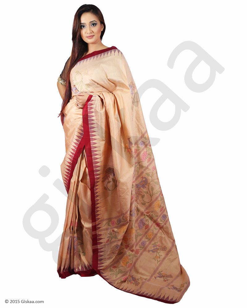 Rani  Silk Saree Full (Cream with Maroon Border) - Peacock  design pattern