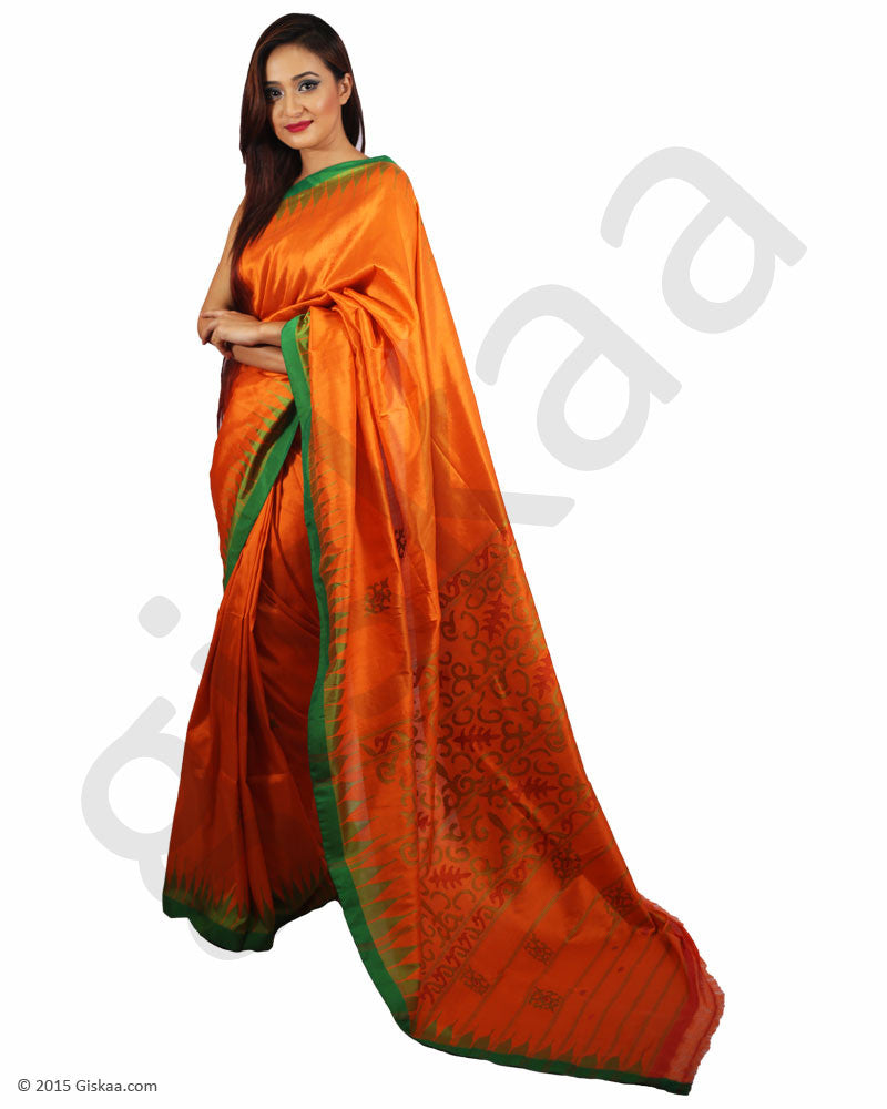 Rani  Silk Saree Full Orange with Green Border)