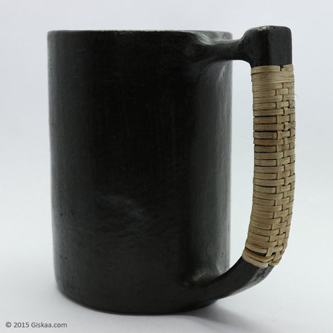 Beer Mug with Semi D Shaped Handle - Longpi Black Pottery