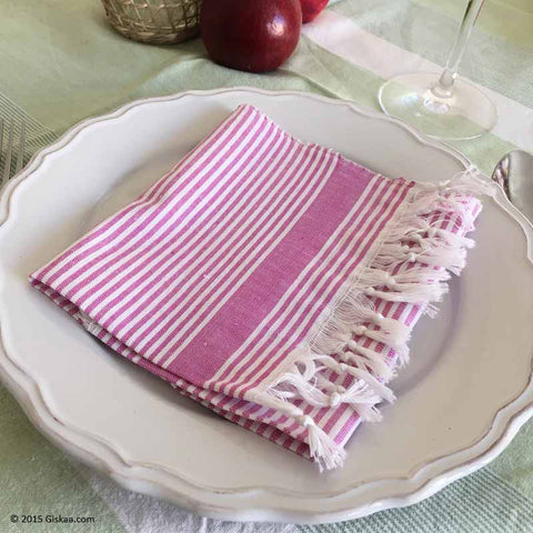 Light pink with white stripes Handwoven Kitchen Napkin - Set of 5