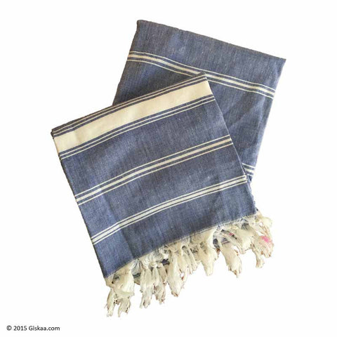 Denim Blue With White Stripes Handwoven Bath Towel