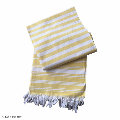 Yellow With Small White  Stripes Handwoven Bath Towel
