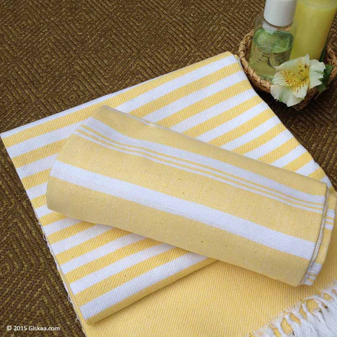 Yellow With Wide White Stripes Handwoven Bath Towel