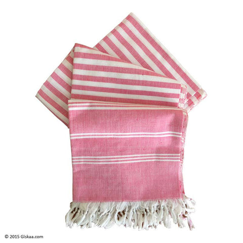 Pink With  White Stripes Handwoven Bath Towel