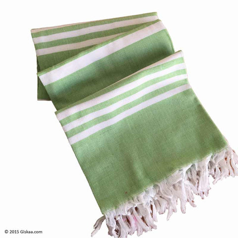 Green With White Stripes Handwoven Bath Towel