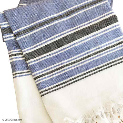 Denim Blue With Black And White Stripes Handwoven Bath Towel