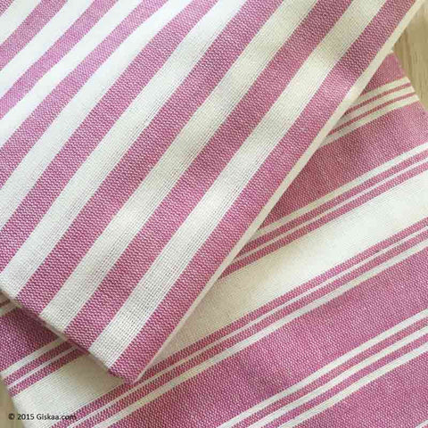 Salmon Pink With White Stripes Handwoven Bath Towel