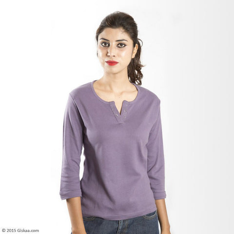 100% Organic Cotton 3/4th Sleeves Top (Purple)