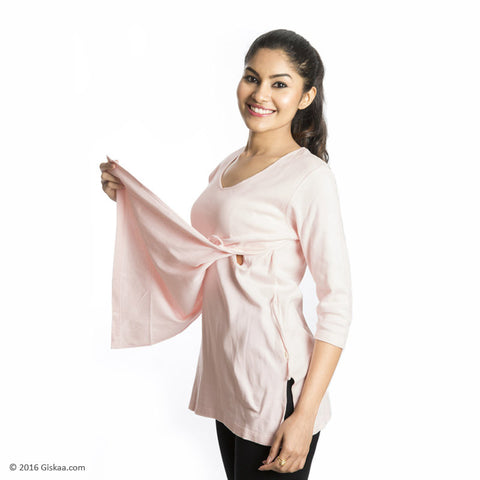 100% Organic Cotton Nursing Tops (Pink)