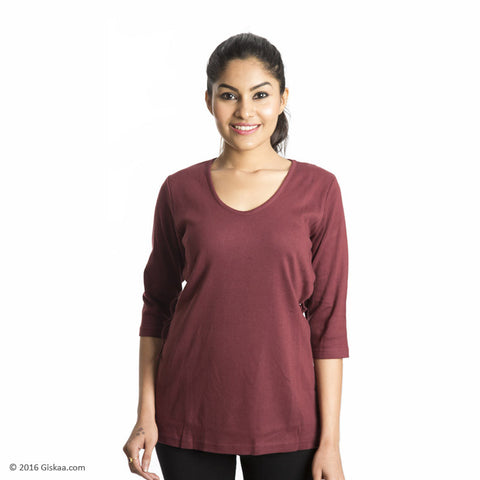 100% Organic Cotton Nursing Tops (Maroon)