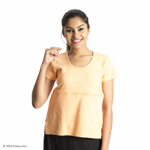 100% Organic Cotton Nursing Tops with Concealed Zipper (Orange)
