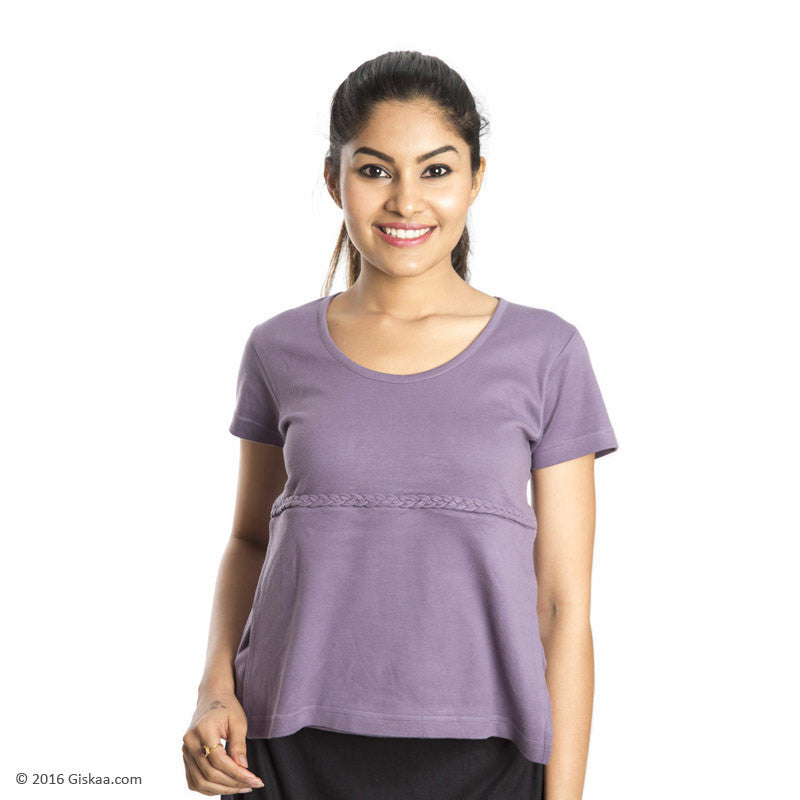 100% Organic Cotton Nursing Tops with Concealed Zipper (Purple)