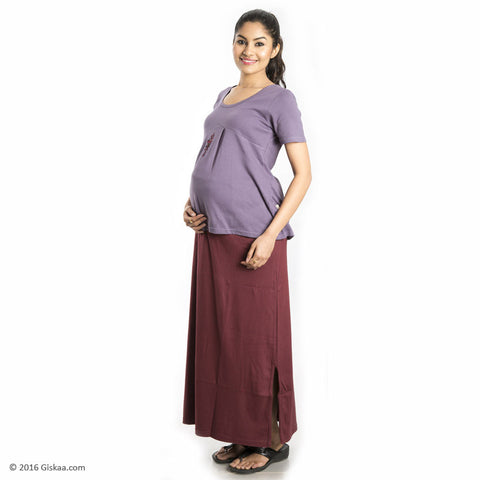 100% Organic Cotton Ankle Length Maternity Skirt (Maroon)