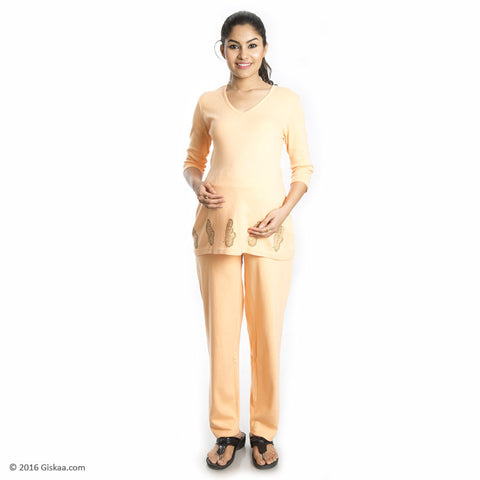 100% Organic Cotton Ankle Length Maternity Pants (Orange)