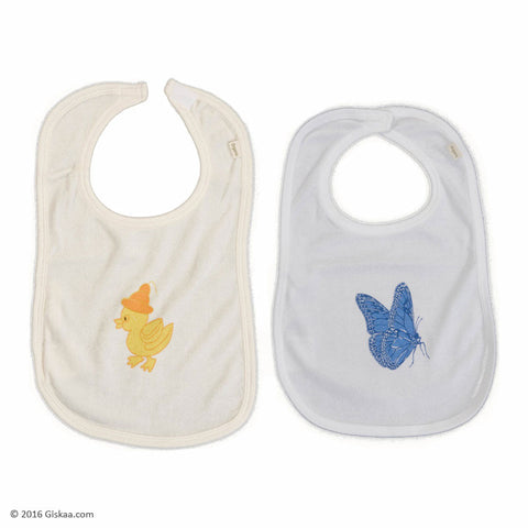 100% Organic Cotton Infants Bib (White Body with Blue Butterfly) - Set of 2