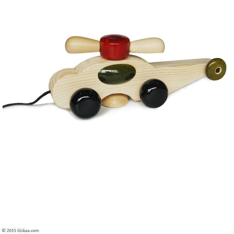 Spinno - Handcrafted Wooden Pull Toy with Rotating Fan
