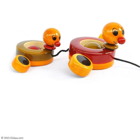Duby and Duba - Handcrafted Wooden Paddling Ducks Toy