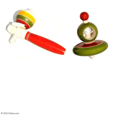 Set of 2 String Tops - Handcrafted Wooden Toy