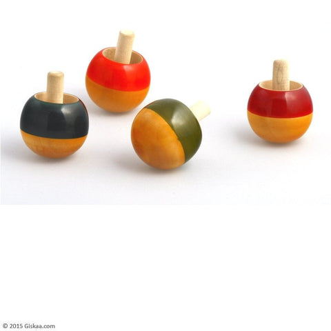 Flip Tops - Handcrafted Wooden Toy - Set of 4 Tops (Red, Green, Orange, Black)