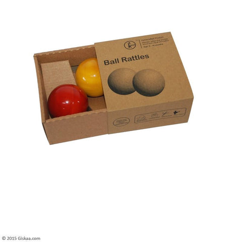 Ball Rattle - Set of 2 - Handcrafted Wooden Toy