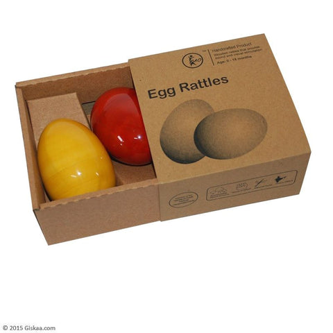Egg Rattle - Set of 2 - Handcrafted Wooden Toy
