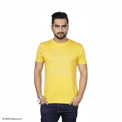 Sentido Graphic Print Men's Round Neck Yellow T-Shirt