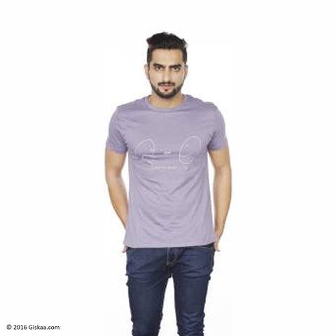 Sentido Graphic Print Men's Round Neck Purple T-Shirt
