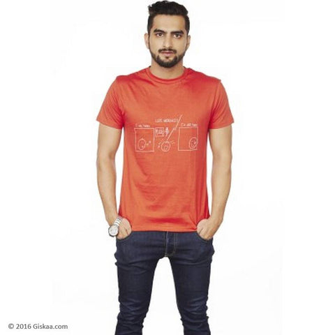 Sentido Graphic Print Men's Round Neck Orange T-Shirt