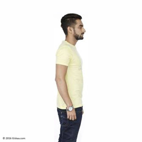 Sentido Graphic Print Men's Round Neck Pale Yellow T-Shirt