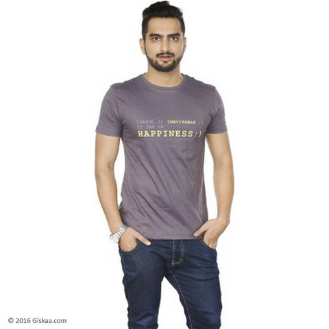 Sentido Graphic Print Men's Round Neck Grey T-Shirt