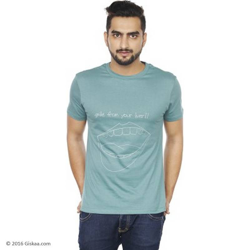 Sentido Graphic Print Men's Round Neck Dark Green T-Shirt