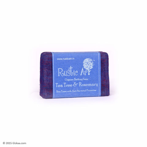 Rustic Art Organic Tea Tree and Rosemary Soap - 100g