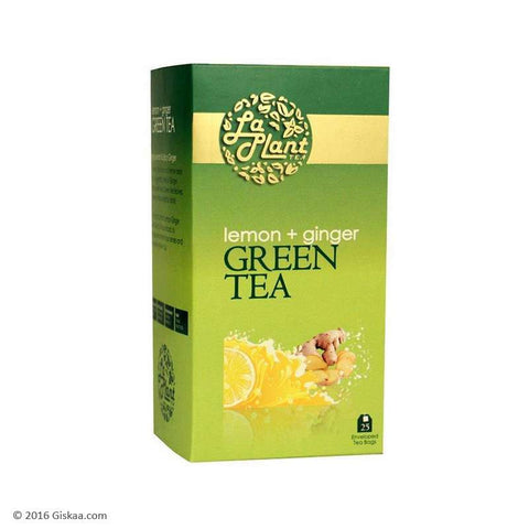 LaPlant Lemon & Ginger Green Tea - 25 Tea Bags (Pack of 2)