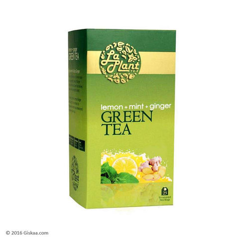 LaPlant Lemon, Mint & Ginger Green Tea - 25 Tea Bags (Pack of 2)