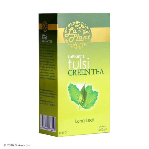 LaPlant Tulsi Green Tea, Long Leaf - 100 g (Pack of 2)