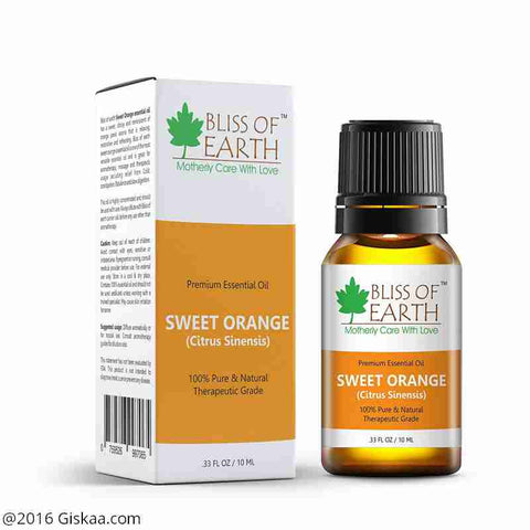 Bliss of Earth 100% Pure Premium Sweet Orange Essential Oil- Citrus Sinensis- 10ml