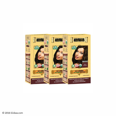 Indus Valley Botanical Dark Brown Hair Colour Set of 3