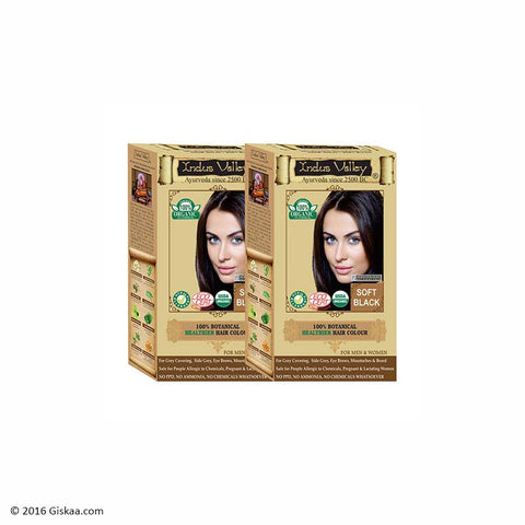 Indus Valley Botanical Soft Black Hair Colour One Touch Pack Set of 2