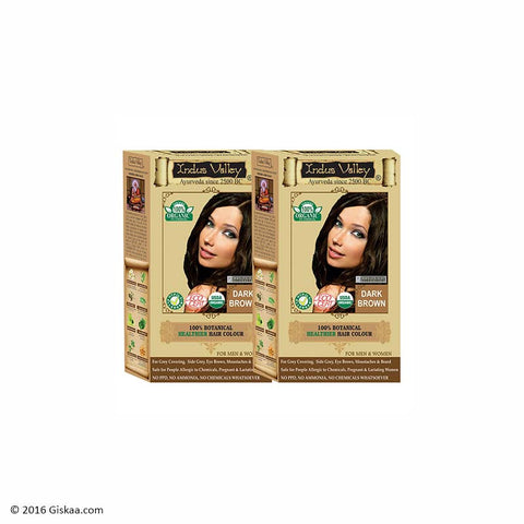 Indus Valley Botanical Dark Brown Hair Colour One Touch Pack Set of 2
