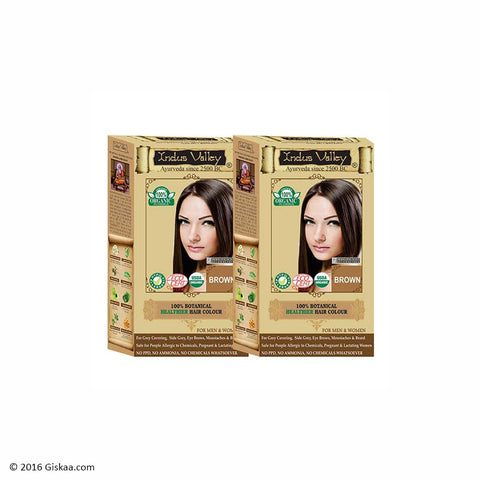 Indus Valley Botanical Brown Hair Colour One Touch Pack Set of 2