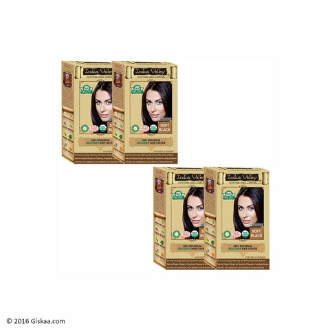 Indus Valley Botanical Soft Black Hair Colour One Touch Pack Set of 4
