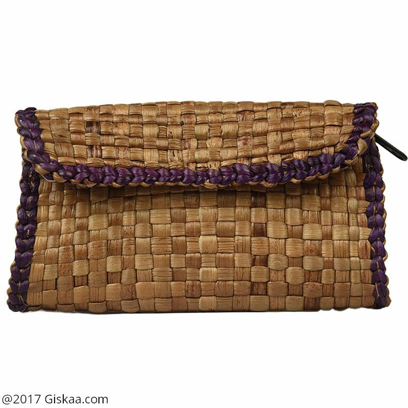 Handmade Water Hyacinth Clutch - Purple Design
